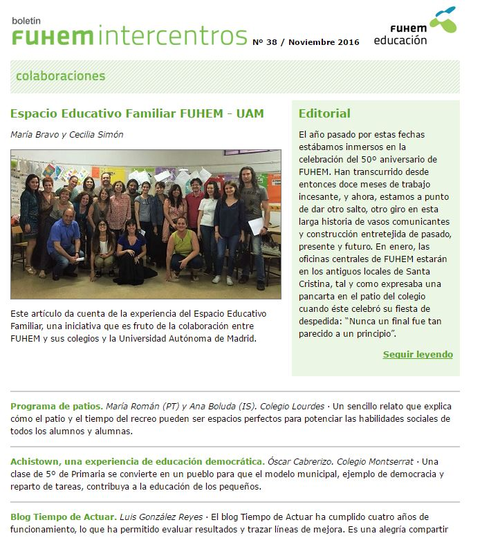 Nuevo número del Boletín FUHEM Intercentros