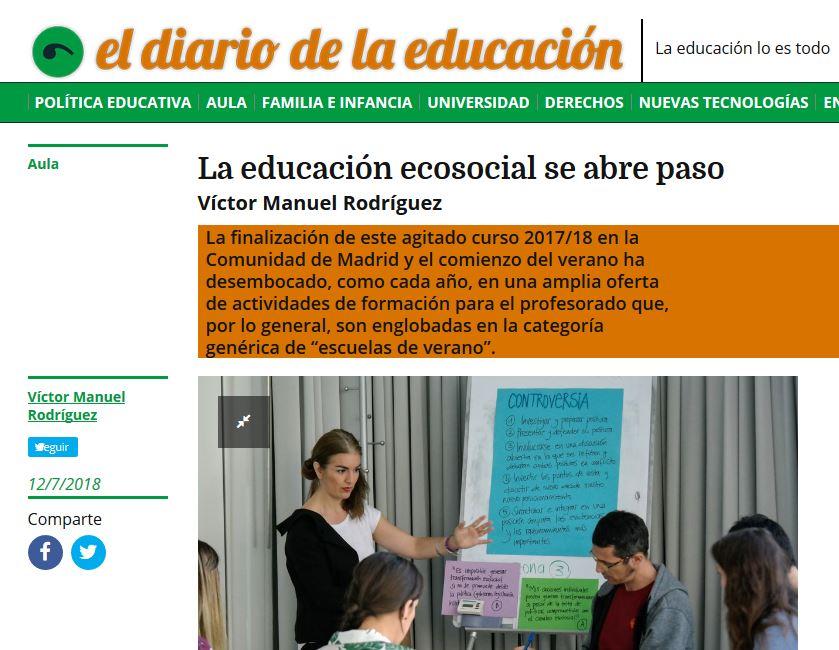 Más educación ecosocial en la nueva tribuna publicada en El